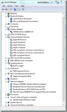 MacBook Pro devices in Device Manager